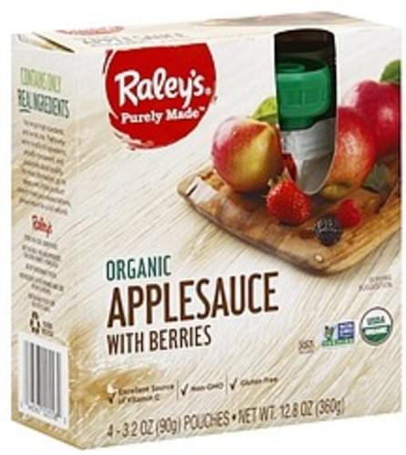 Raleys Organic, with Berries Applesauce - 4 ea