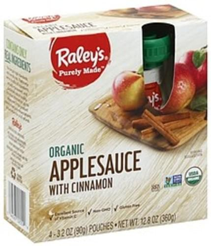 Raleys with Cinnamon, Organic Applesauce - 4 ea