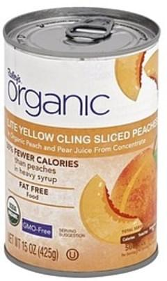 Raleys Peaches Yellow Cling, Lite, in Organic Peach and Pear Juice, Sliced