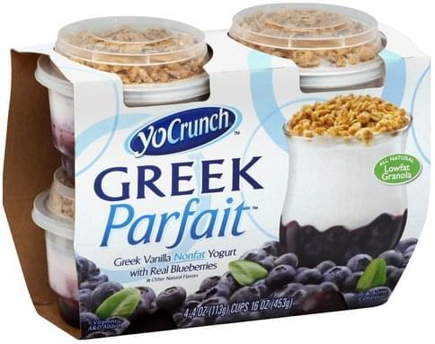 YoCrunch Greek, Nonfat, Vanilla with Real Blueberries Yogurt - 4 ea