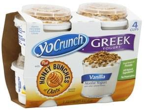 YoCrunch Yogurt Greek Nonfat, Vanilla, Honey Bunches of Oats Granola Clusters