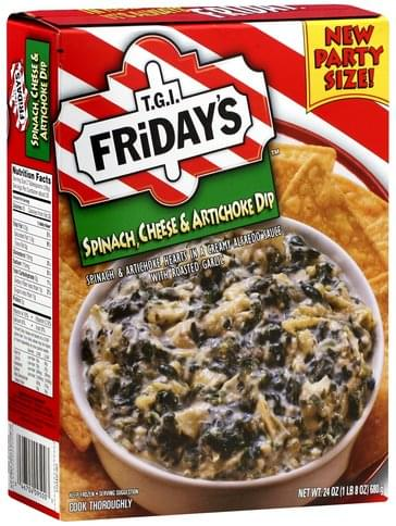 Tgi Fridays Spinach Cheese Artichoke Dip 24 Oz Nutrition Information Innit