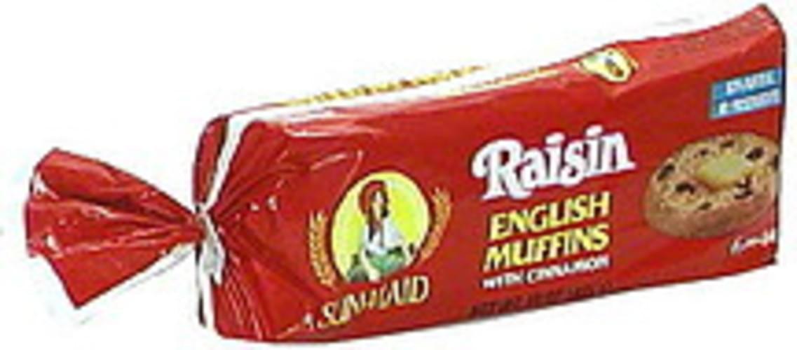 Sun Maid With Cinnamon, Pre-Split Raisin English Muffins - 6 ea