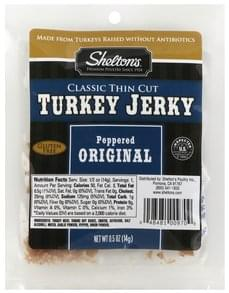 Sheltons Turkey Jerky Classic Thin Cut, Peppered Original