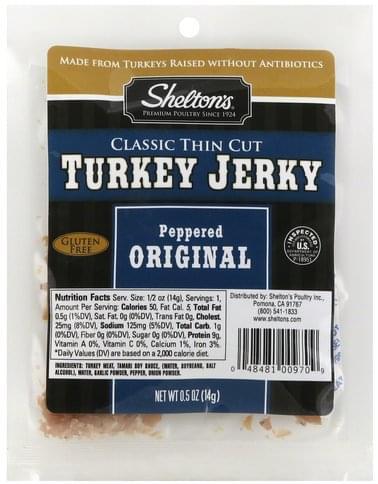 Sheltons Classic Thin Cut, Peppered Original Turkey Jerky - 0.5 oz