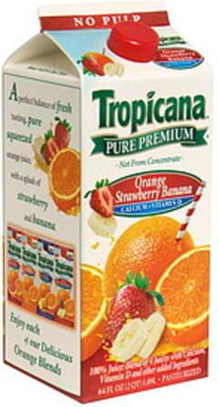 Tropicana Orange Strawberry Banana with Calcium + Vitamin D, No Pulp