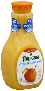 Tropicana 100% Juice Orange, Vitamin C and Zinc, No Pulp