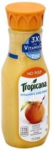 Tropicana Juice Orange, No Pulp, Vitamin C and Zinc