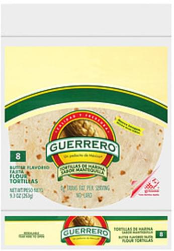 Guerrero Flour Butter Flavored Fajita 8 Ct Tortillas 9 3 Oz Nutrition Information Innit