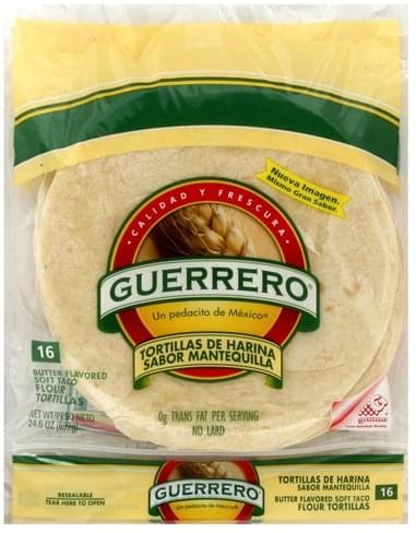 Guerrero Flour Soft Taco Tortillas 16 Ea Nutrition Information Innit