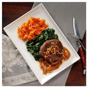 Signature Organic Pan-Seared Beef Tenderloin with Agrodolce Orange Sauce, Smashed Sweet Potato and Sauteed Spinach