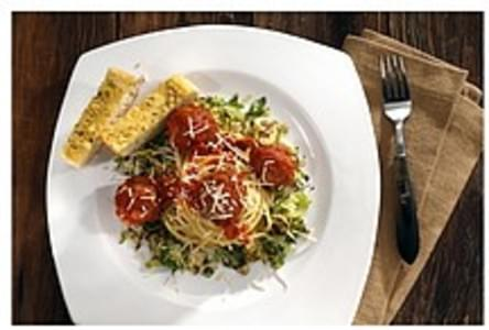 Signature Italian Braised Turkey Meatballs With Pasta, Caramelized Brussels Sprouts & Garlic Bread