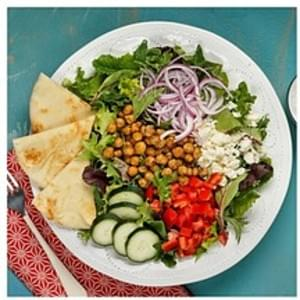 Signature Mediterranean Spiced Chickpea Salad with Cucumber Greek Yogurt Dressing and Garlic Naan Bread