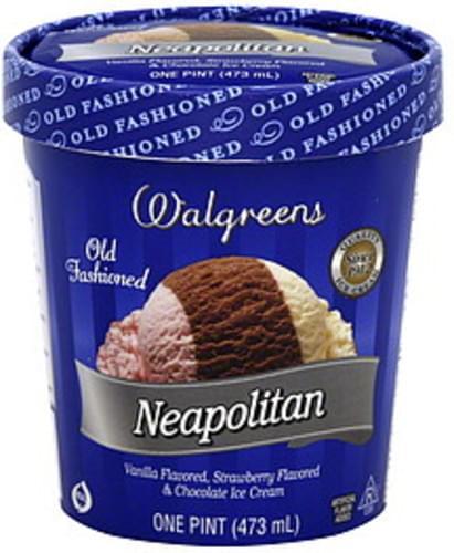 Walgreens Old Fashioned, Neapolitan Ice Cream - 1 pt