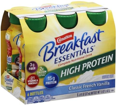 Carnation High Protein, Classic French Vanilla Complete Nutritional Drink - 6 ea