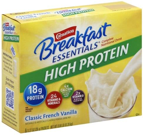 Carnation Complete, High Protein, Classic French Vanilla, Drink Mix Nutritional Drink - 8 ea