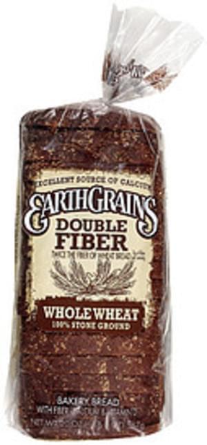 Earth Grains Double Fiber Whole Wheat 100% Stone Ground Bread - 20 oz