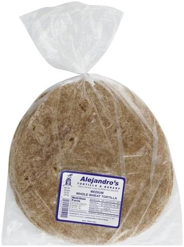 Alejandros Whole Wheat, Medium Tortilla - 12 ea