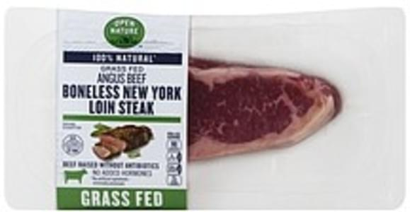 Open Nature Beef New York Loin Steak, Angus, Boneless, Grass Fed