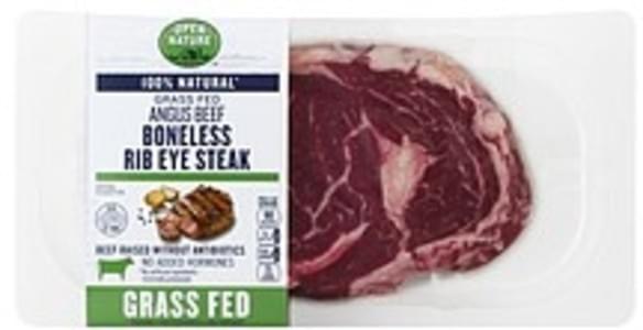 Open Nature Beef Rib Eye Steak, Angus, Boneless, Grass Fed