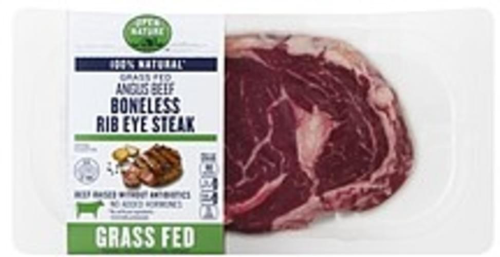 Open Nature Rib Eye Steak, Angus, Boneless, Grass Fed Beef - 1 ea