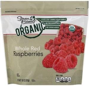 Seven Farms Raspberries Organic, Red, Whole