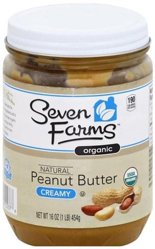 Seven Farms Organic, Natural, Creamy Peanut Butter - 16 oz