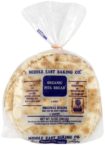 Middle East Organic Pita Bread 6 Ea Nutrition Information Innit