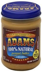 Adams Peanut Butter Unsalted, Creamy