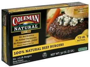 Coleman Natural 100% Natural Beef Burgers