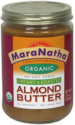 Maranatha Organic Almond Butter No Salt Added, Creamy & Roasted
