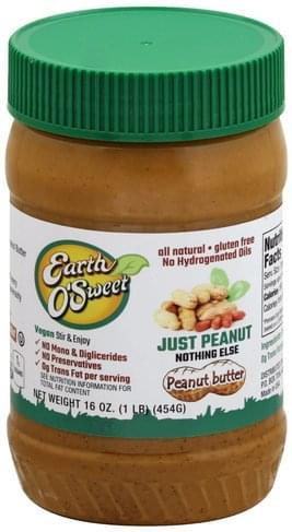 Earth OSweet Just Peanut Peanut Butter - 16 oz