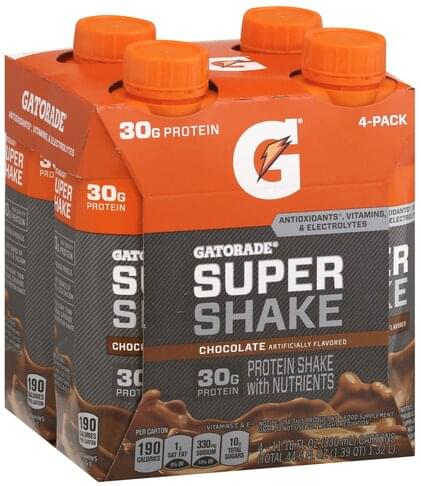 Gatorade Chocolate, 4 Pack Super Shake - 4 ea