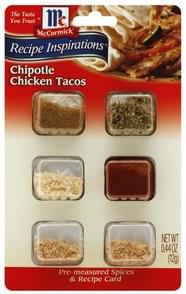 McCormick Pre-Measured Spices & Recipe Card Chipotle Chicken Tacos