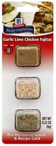 McCormick Pre-Measured Spices & Recipe Card Garlic Lime Chicken Fajitas
