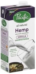 Pacific Foods Non-Dairy Beverage Hemp, Unsweetened, Vanilla
