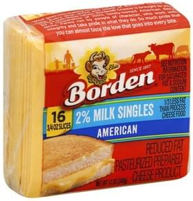 Borden Cheese Product Pasteurized Prepared, American, Reduced Fat, 2% Milk Singles