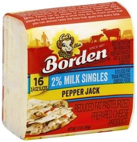 Borden Cheese Product Pasteurized Prepared, Pepper Jack, Reduced Fat, 2% Milk Singles