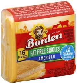 Borden Cheese Product Pasteurized Prepared, American, Fat Free Singles