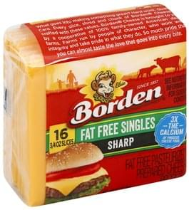 Borden Cheese Product Pasteurized Prepared, Sharp, Fat Free Singles