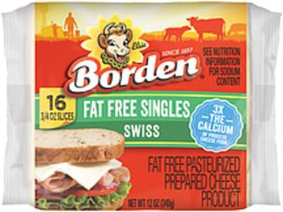 Borden Cheese Fat Free Swiss Singles
