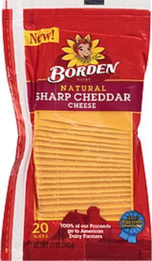 Borden Natural Sharp Cheddar 12 Oz Cheese Slices - 20, Nutrition