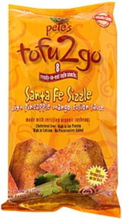 Petes Tofu Ready-to-Eat Tofu Snacks Santa Fe Sizzle with Pineapple Mango Fusion Sauce