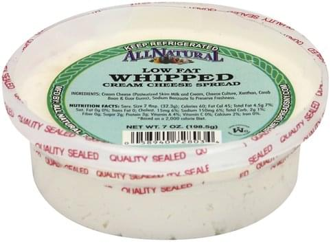 All Natural Low Fat, Whipped, Chives Cream Cheese Spread - 7 oz