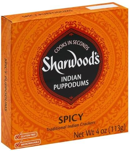 Sharwoods Indian, Spicy Puppodums - 4 oz