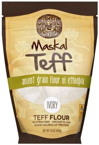 Maskal Teff Ancient Grain Flour of Ethiopia, Ivory Teff Flour - 16 oz