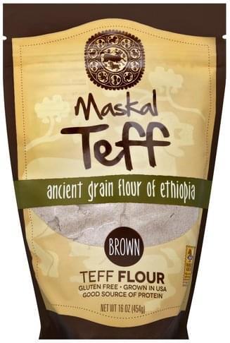 Maskal Teff Ancient Grain Flour of Ethiopia, Brown Teff Flour - 16 oz