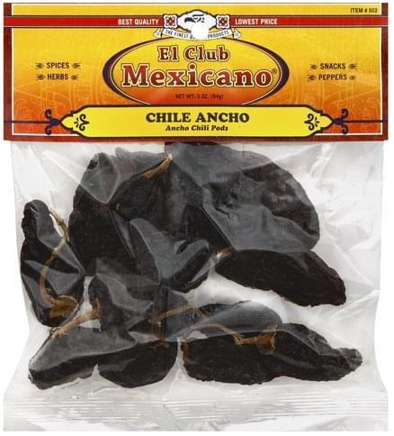 El Club Mexicano Ancho Chili Pods - 3 oz
