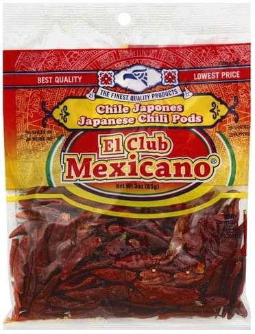 El Club Mexicano Japanese, Very Hot Chili Pods - 3 oz