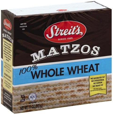 Streits 100% Whole Wheat, No Salt Added Matzos - 11 oz